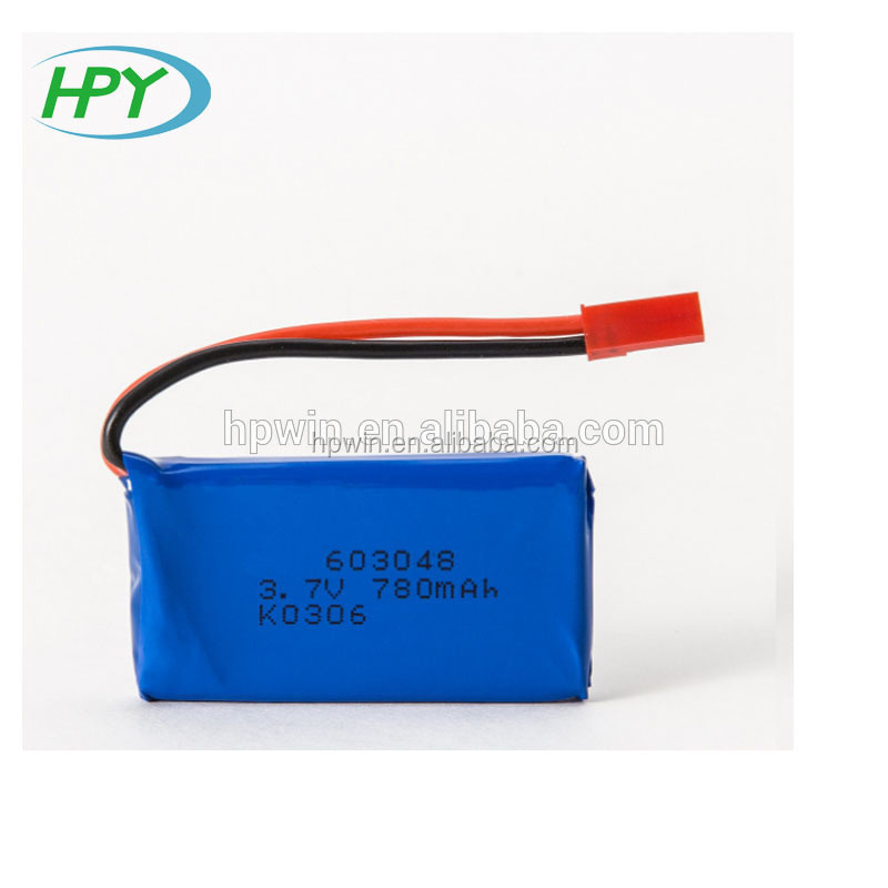 Factory supply 780mah lithium polymer battery 603048 3.7v 20C rate li-ion battery pack