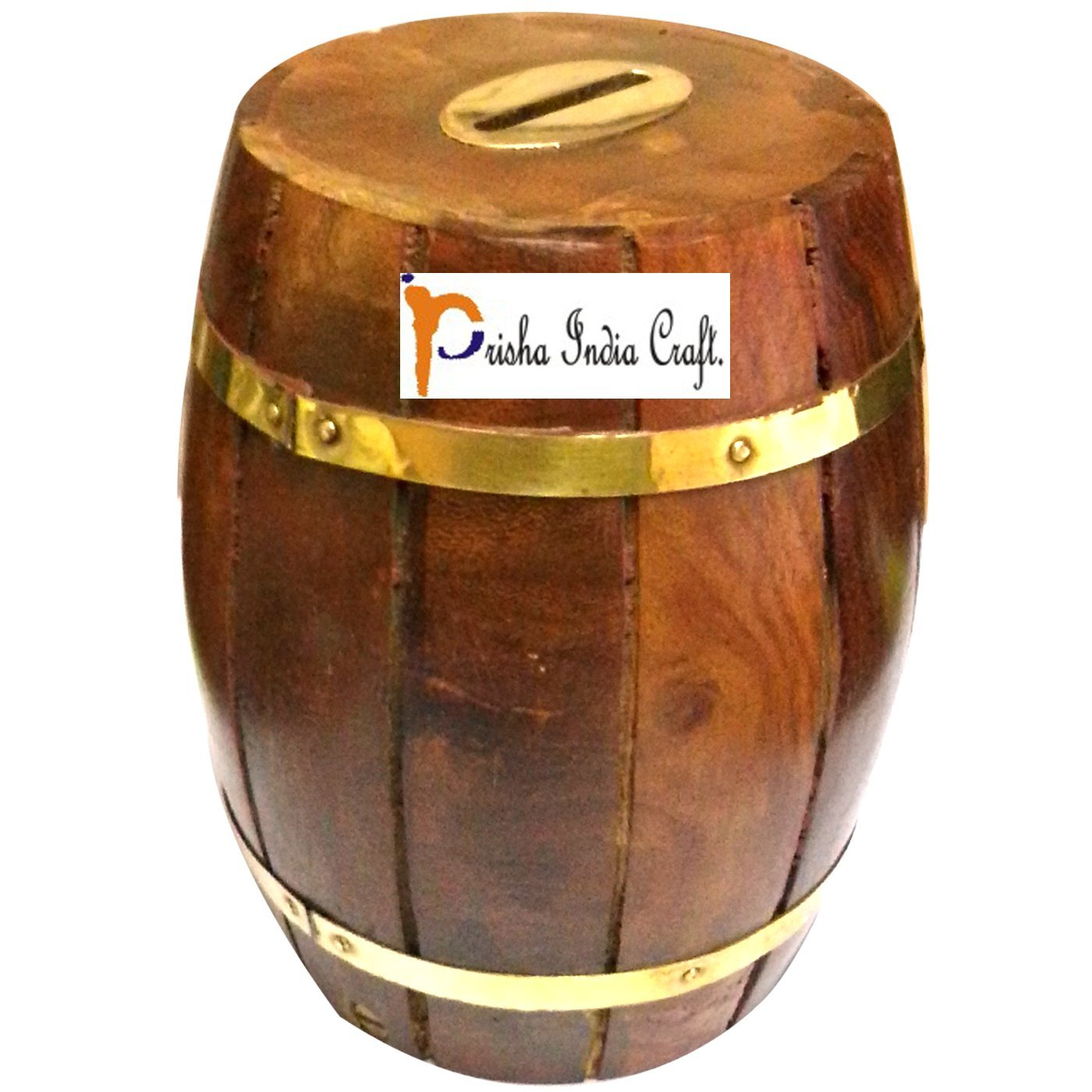 Prisha India Craft Handcrafted Barrel Shaped Wooden Money Box Safe Piggy Bank for Girls and Boys wooden money bank Coin Holder CHRISTMAS GIFT ITEM 3 X 3 X 4.8 Inch, Square Style
