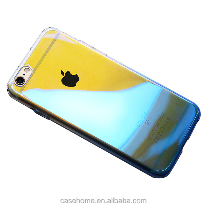 Fashion plating blu-ray gradient aurora all coverage hard case for iPhone 6 7 7plus