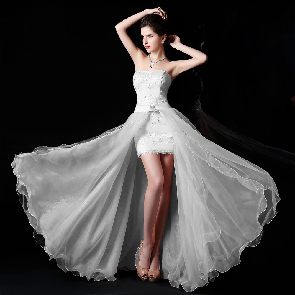 New Design High Low Strapless White Wedding Dress Bridal