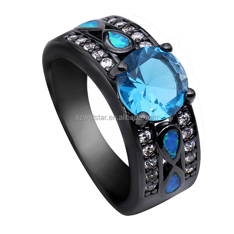 New Fashion Big Rainbow Opal & Crystal CZ Ring 10KT Black Gold Filled Vintage Jewelry Wedding Rings For Women