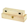 New environmental plain pine wooden pencil box with hinged lid