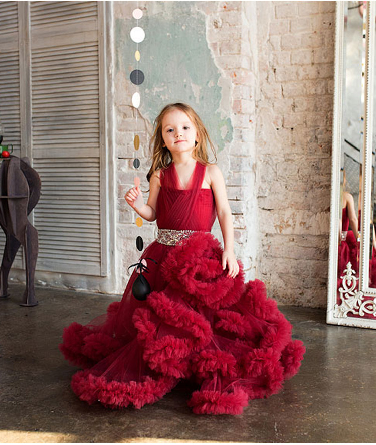Cloud little flower girls dresses for weddings Baby Party frocks sexy children images Dress kids prom dresses evening gowns 2016 5