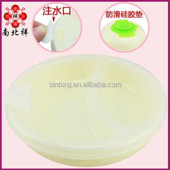 plastic put hot water insulated dish keep food warm baby plate