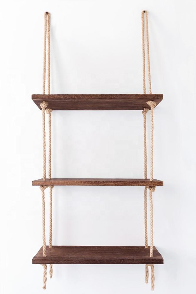 3 Tier Jute Rope Organizer Rack Floating Shelf Wall Swing Storage Shelves Wood Wall Hanging Shelf