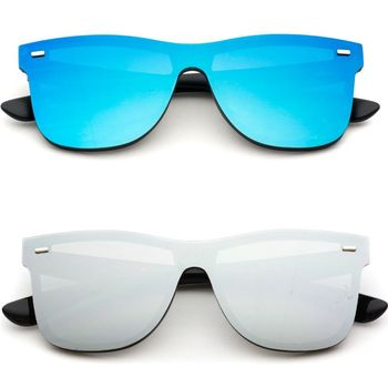 New Flat Lens Full Shield Horn Rimmed Rimless Sunglasses
