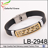 Wholesale wristband cheapest Stainless steel pattern accessories silicone rubber bracelets