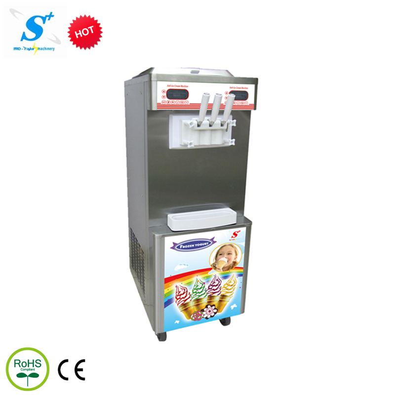 commercial price 3 flavor self-cleaning rainbow soft serve ice cream making machine