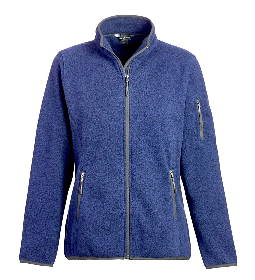 Landway Women's 2 Pockets Sweater Knit Fleece Jacket, Heather Indigo, X-Large