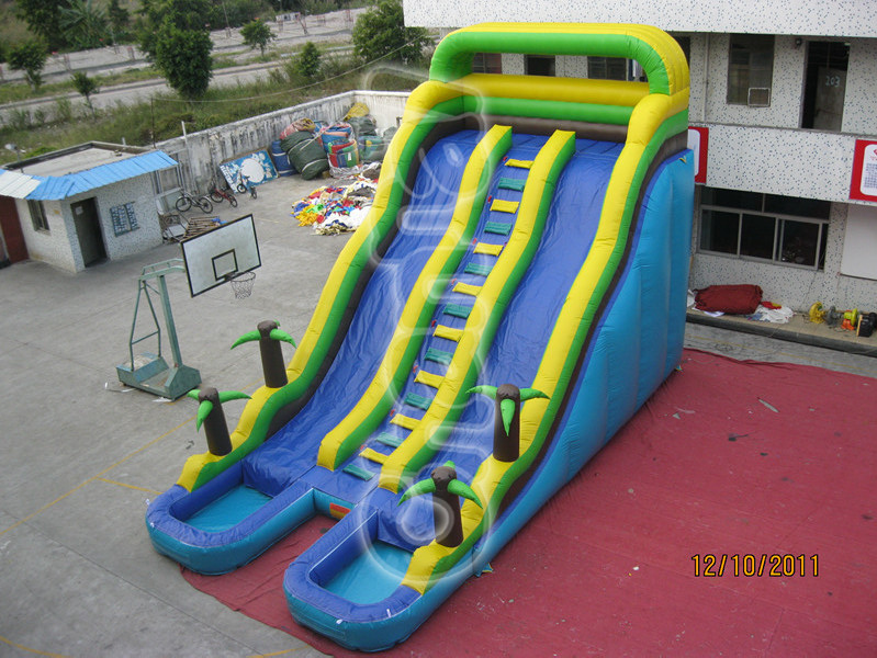 PVC Plato Inflatable Jungle Double Water Slide with Pool/Inflatable Climbing Water Slide for Outdoor Playground Games