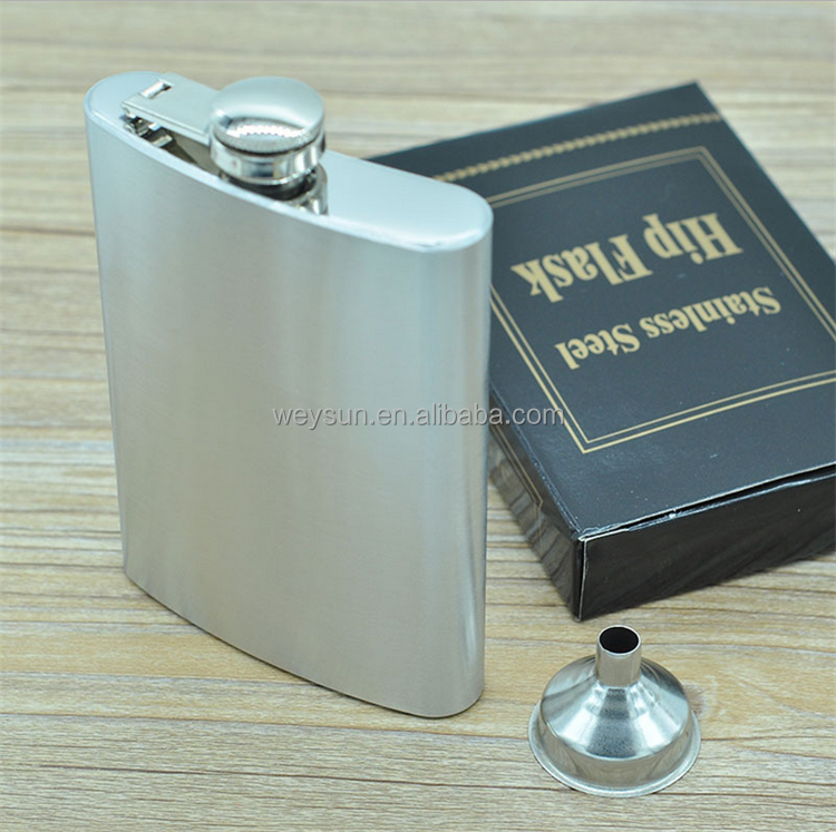 8oz Stainless Steel Liquor Flask with Hinged Screw-On Cap