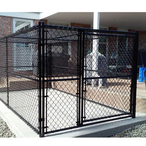 DIY Galvanized Large Custom Metal Dog Kennel Outdoor Pet House Animal dog cage kennel Black Chain Link Dog Runs Cage