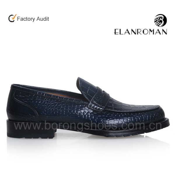 ELANROMAN Men dress leather shoe penny loafers genuine leather dress shoe for man