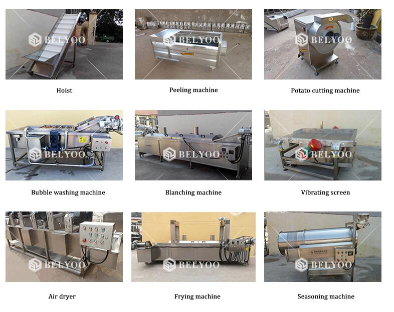 Frozen finger chips making machine ruffles chips french fries production line