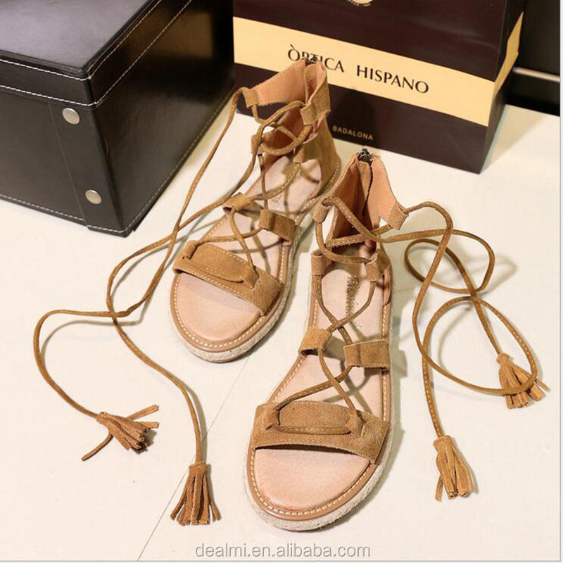 Demi 301 China suppliers leather straw tassel fashion flat summer <strong>sandals</strong> 2017 for women