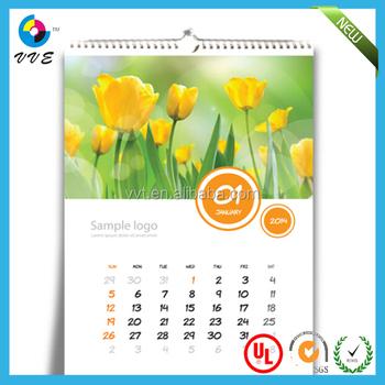Creative wall calendar design 2014 spiral binding wall calendar