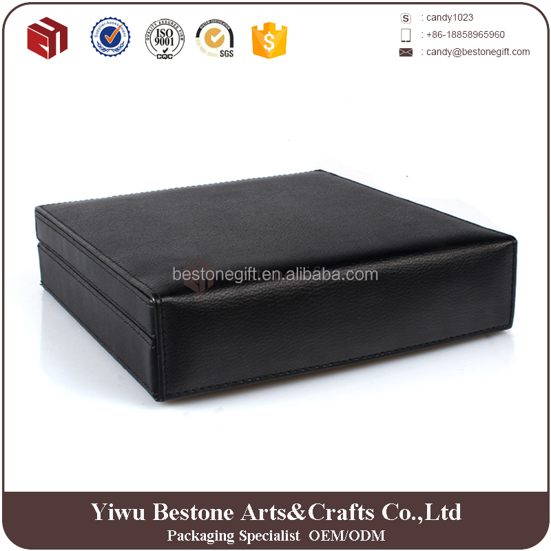 Black leather coating wooden humidor box cigar