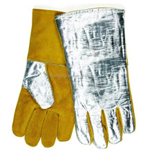 cow split leather aluminum foil welder glove heat resistant gloves with foil