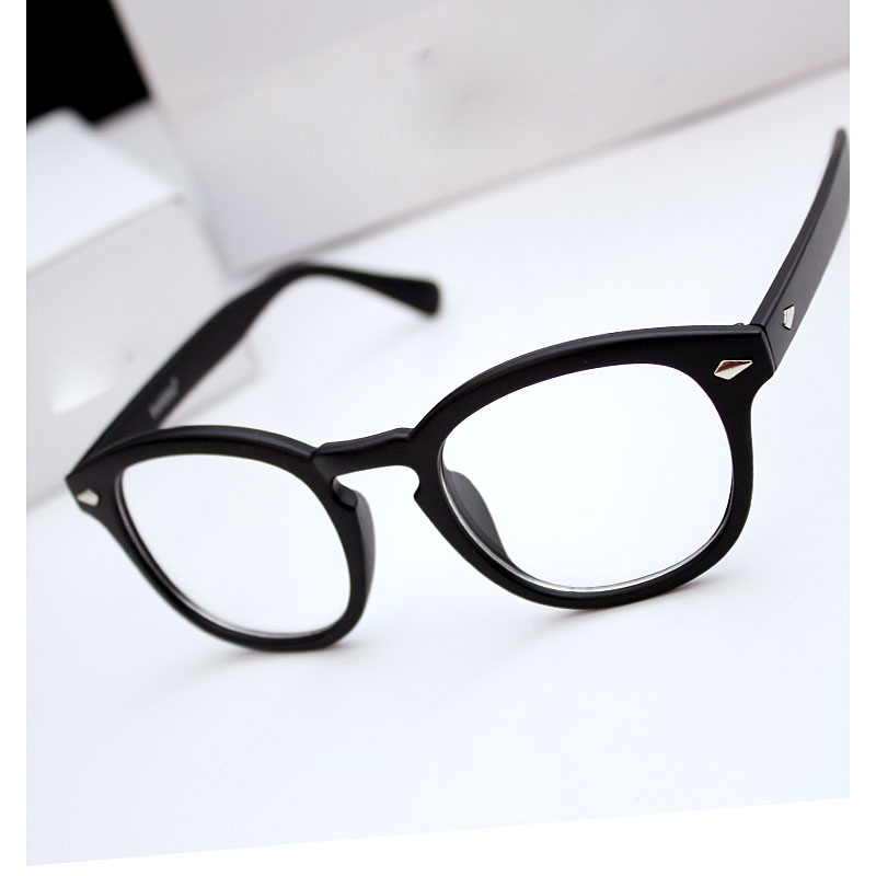 79e18f05d0 Get Quotations · Fashion 2015 unisex retro oval rivet black plain glasses  frames women ultralight eyeglasses myopia nose pads