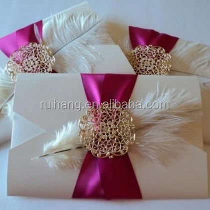 vintage beauty ribbon & feather with brooch romance fold pocket wedding invitation cards
