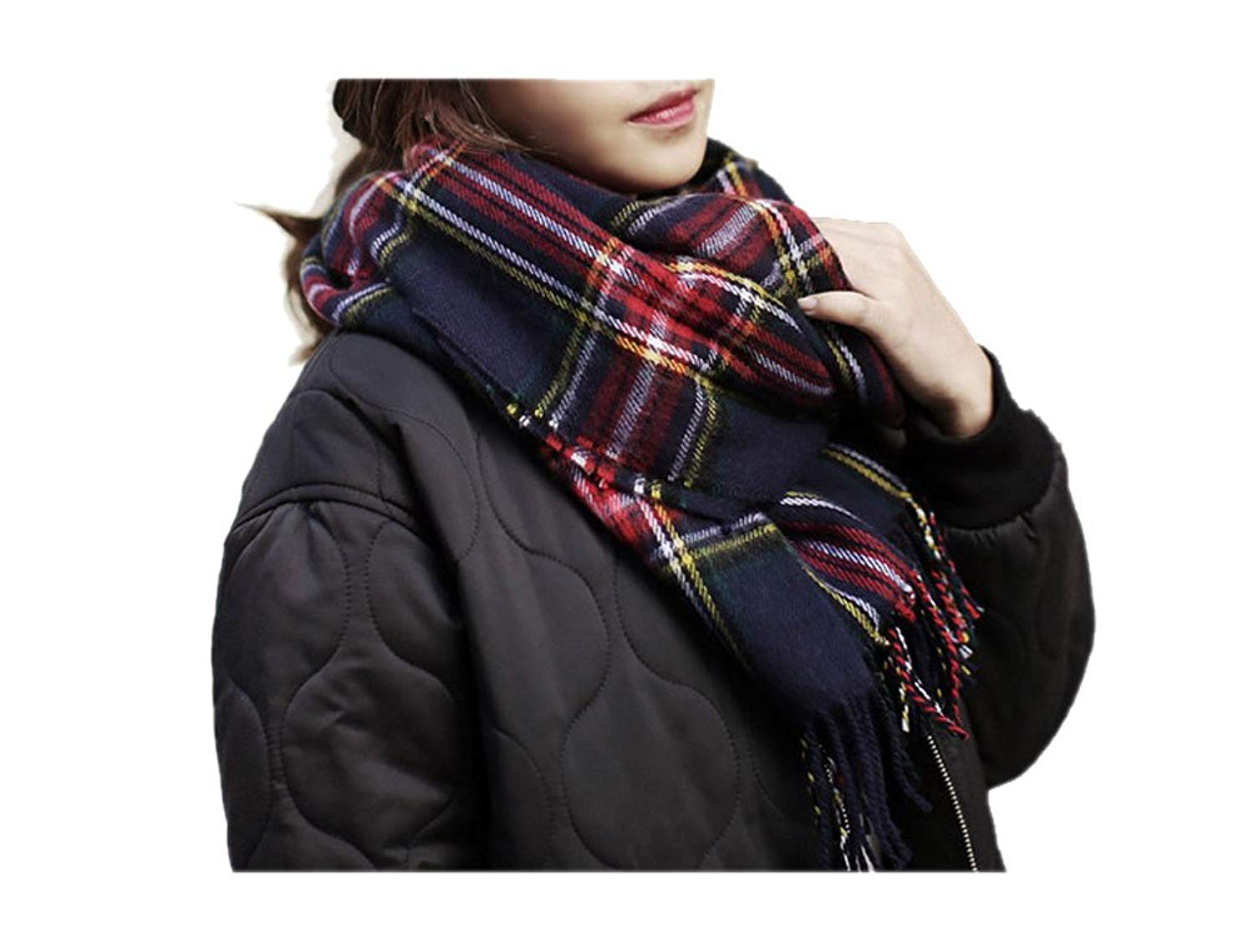 ARJOSA Women Knitted Plaid Oversized Long Scarf Shawl Wrap