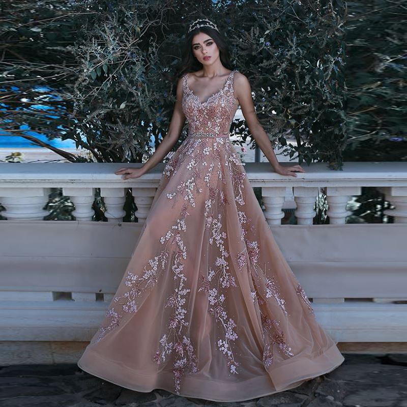 a9604557668a6 أنيقة الشمبانيا فساتين السهرة 2018 مطرز الرباط 3d الزهور الراقصة اللباس خط  الفساتين