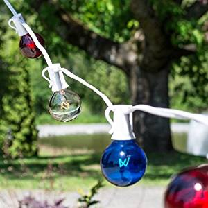 Patriotic Globe String Lights, 1.5 Inch G40, 50 Feet White Wire, C7 Strand, Indoor Outdoor Light, Bistro Lights, Tent Strand, Patio String Light, End to End Connectable, (Red White & Blue)