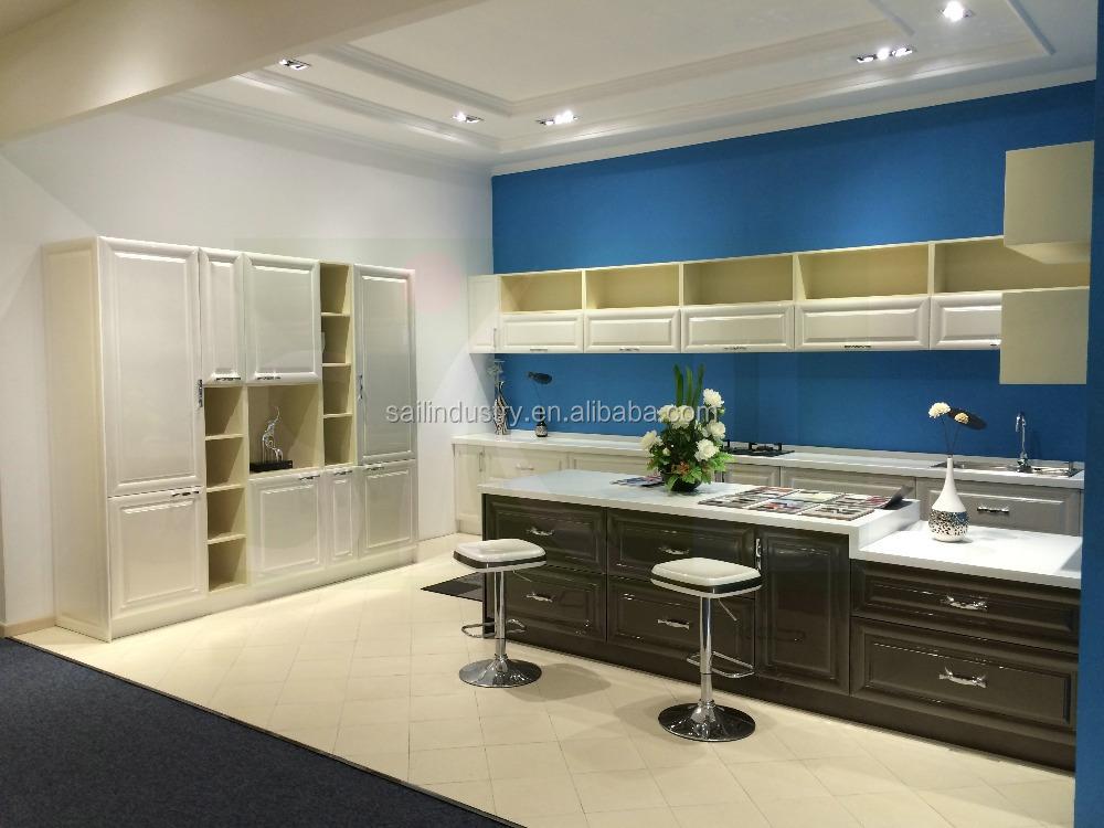Moderne lak keuken wit en donkerblauw kleur combinatie kasten ...