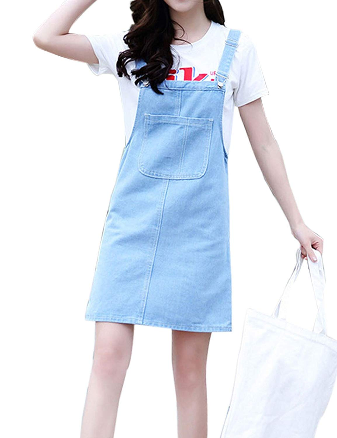 0b91dc04c21 Get Quotations · Yeokou Women s Casual A-line Mid Long Denim Jean Suspander Overall  Dress Skirt