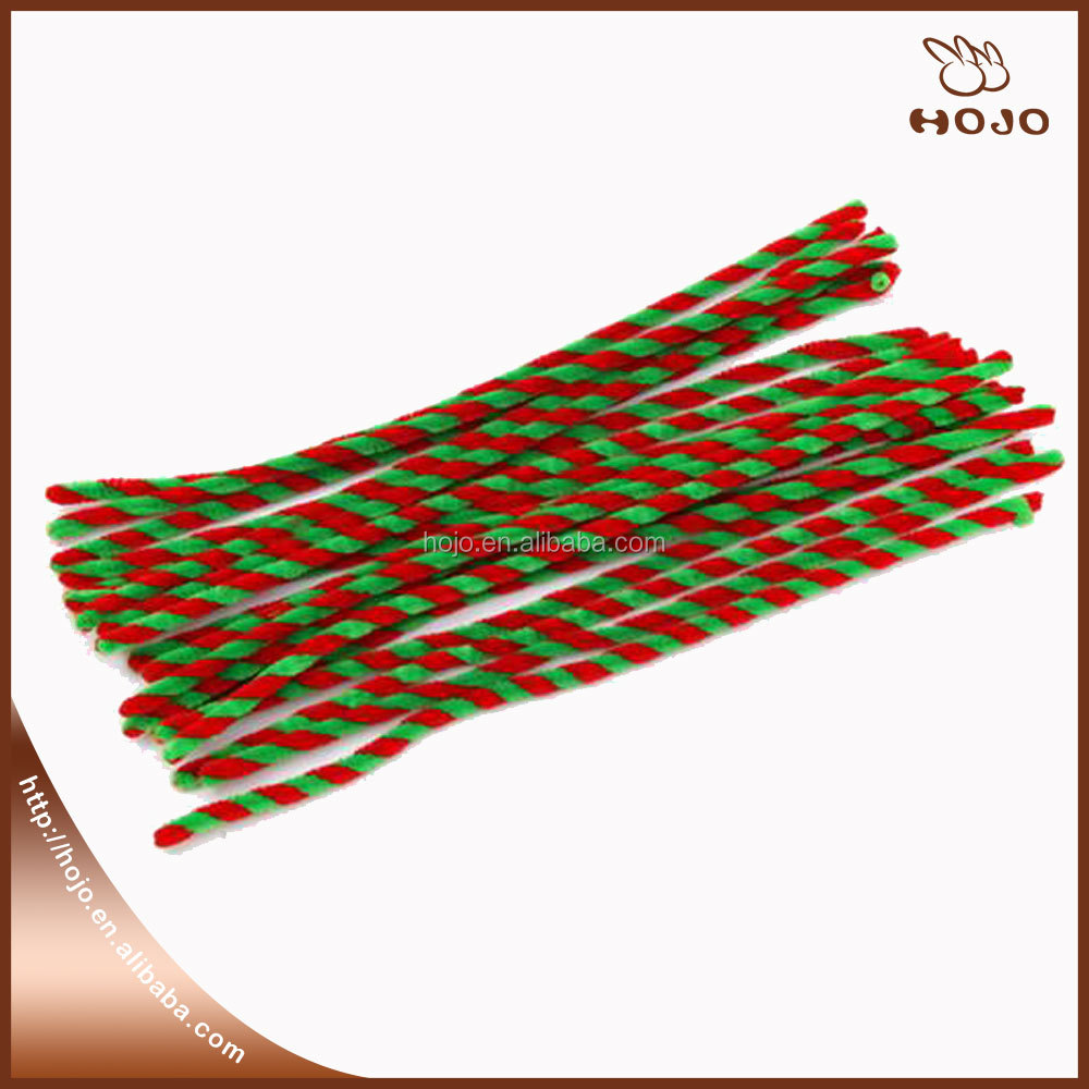 Christmas chenille stems Red/green pipe cleaner for party supply