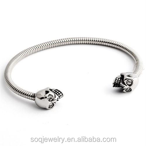 High Polishing Stainless Steel Snake Chain Skull Clasp Bracelet for Men & Women