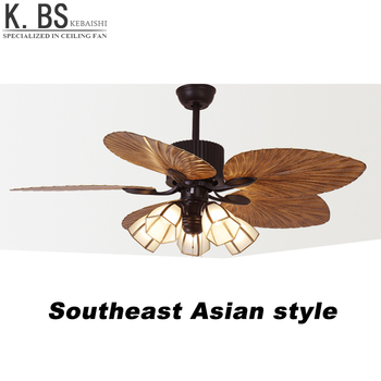 Modern Decorative Electric Motor Cooling Fan Rattan Ceiling With Light And Remote