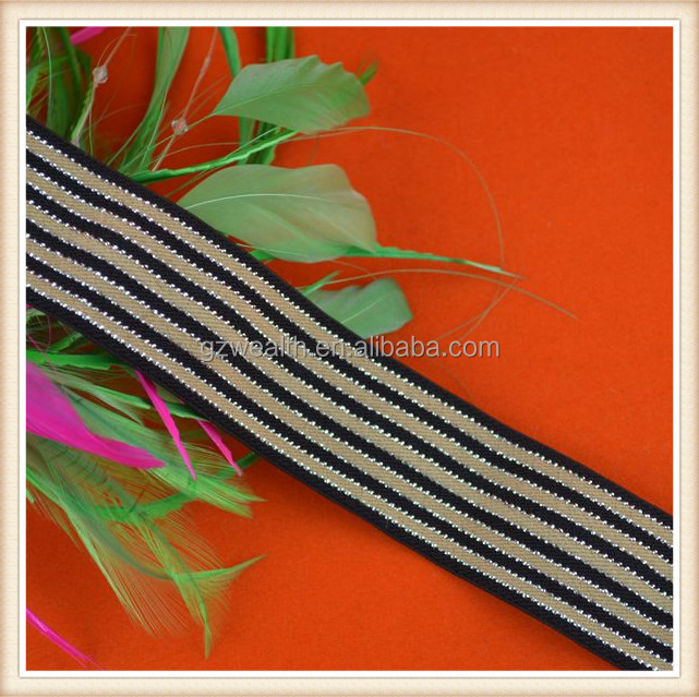 Newly elastic ribbon woven tape with metallic yarn decoration polyester webbing for garment