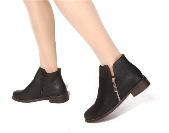 c9ff682e01a5 Get Quotations · Women Boots 2015 Autumn Winter Fashion Double Zipper Paint Leather  Ankle Boots for Woman Square Heel