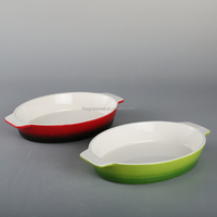 12.75 inch ceramic gradient color oval bakeware with handle, microwave and oven safe