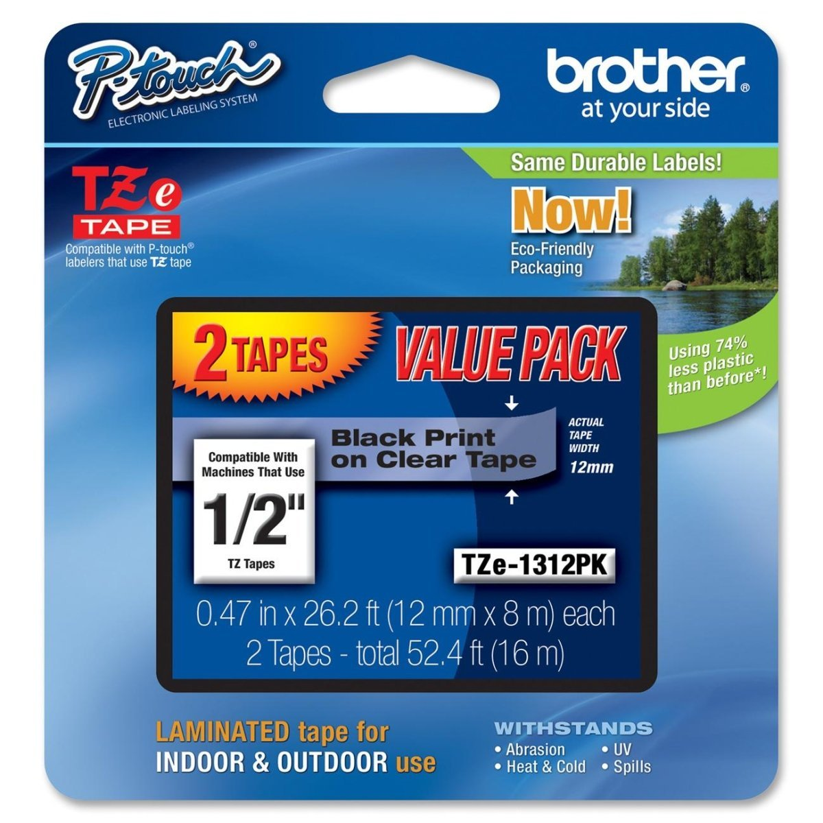 Brother TZE-1312PK TZe 1312PK - Laminated tape - black on clear - Roll (0.47 in x 26.3 ft) 2 roll(s) - for P-Touch PT-1010, 1090, 1100, 1190, 1230, 1280, 1290, 1830, 2030, 2100, 2110, 2430, 2730