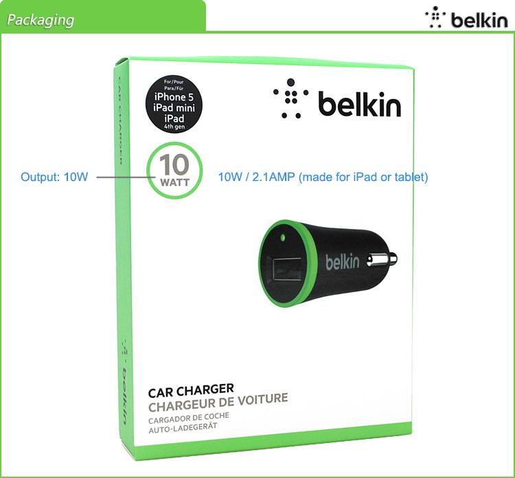 Отказаться поддельные! Белкин оригинал универсальный мобильный телефон автомобильное зарядное устройство 2.1A / 2.4A для iPhone 6 / 6 s для iPad с розничной упаковке