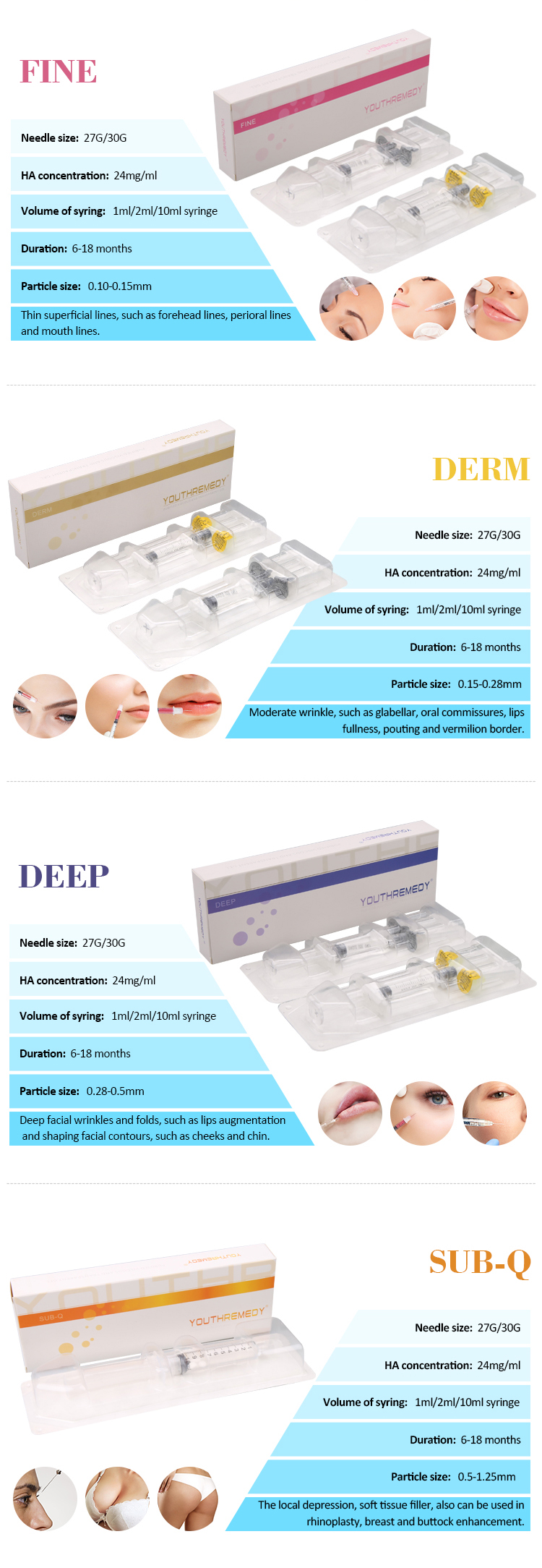 10 ml injectable acide hyaluronique corps acide hyaluronique derma de remplissage