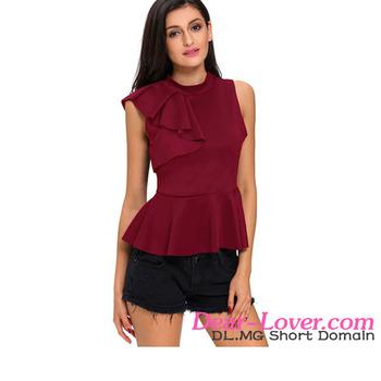 86c6bbee93f Stylish Sexy Clubwear Wine Asymmetric Ruffle Side Peplum Top women tunic  tops
