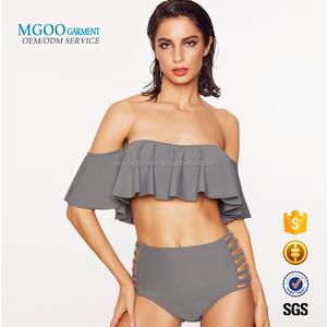 ee74a08e91 2018 Custom new design Sexy europe Bikini Women High Waist Swimsuit Off  Shoulder ruffled Bathing Suit