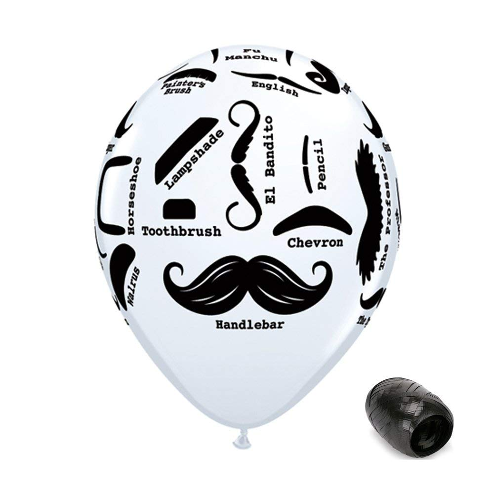 """10 Pack 11"""" Black & White Mustache Styles Latex Balloons with Matching Ribbons"""