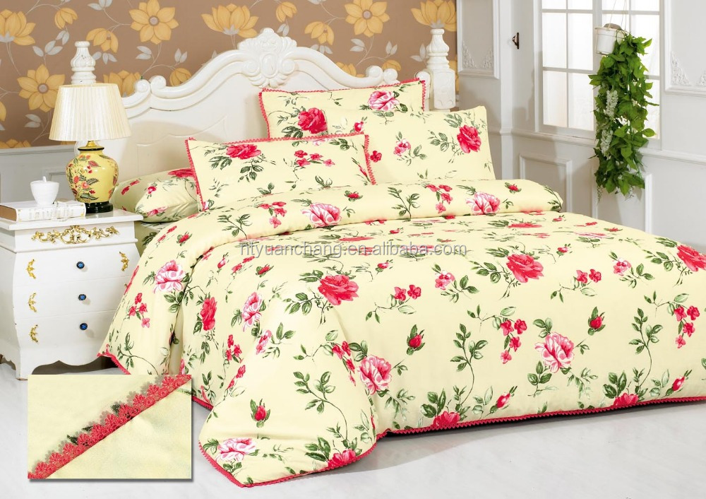 2016 hot sale lace rose pattern home bedding set