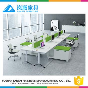 Simple Office Computer Table Design Long Rectangular Benching Desks 8 Person  Office Fruniture Workstation HL