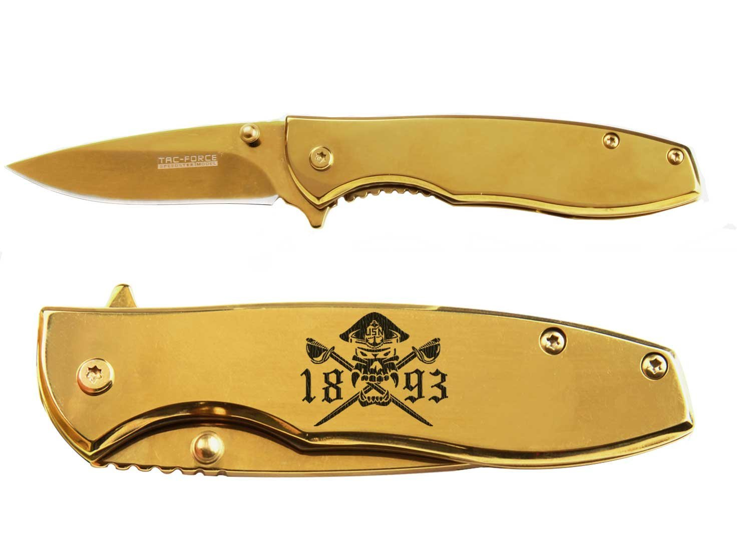 Tac-Force 2.5'' Spring Assisted Pocket Knife TF573GD NDZ Chief Petty Officer 1893 Cutlasses 2