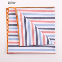 100 Cotton White Orange Blue Stripe Handkerchief Wholesale
