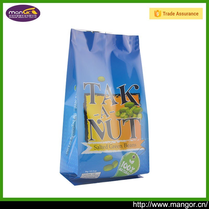 Custom printed laminated plastic aluminum foil side gusset nuts bag with tear notch