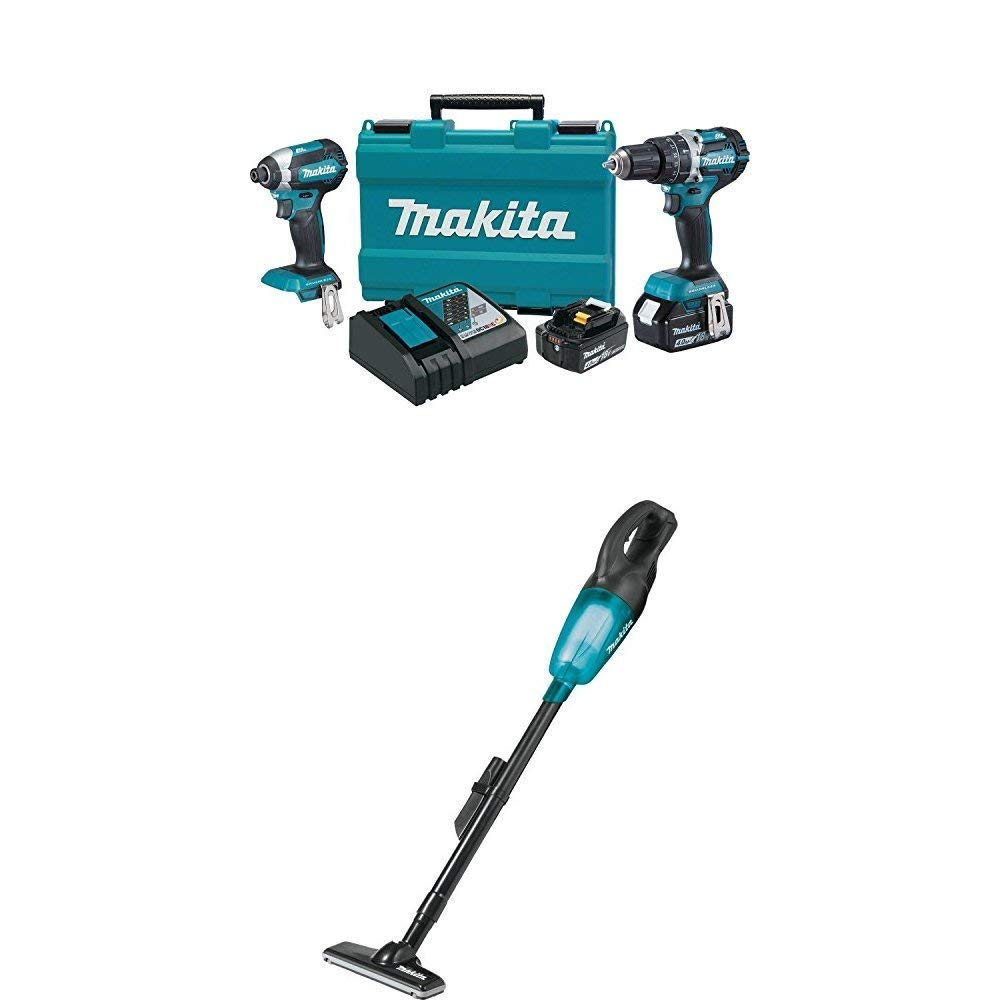 Makita XT269M 18V LXT Lithium-Ion Brushless Cordless 2-Pc. Combo Kit (4.0Ah) & Makita XLC02ZB 18V LXT Lithium-ion Cordless Vacuum, Tool Only