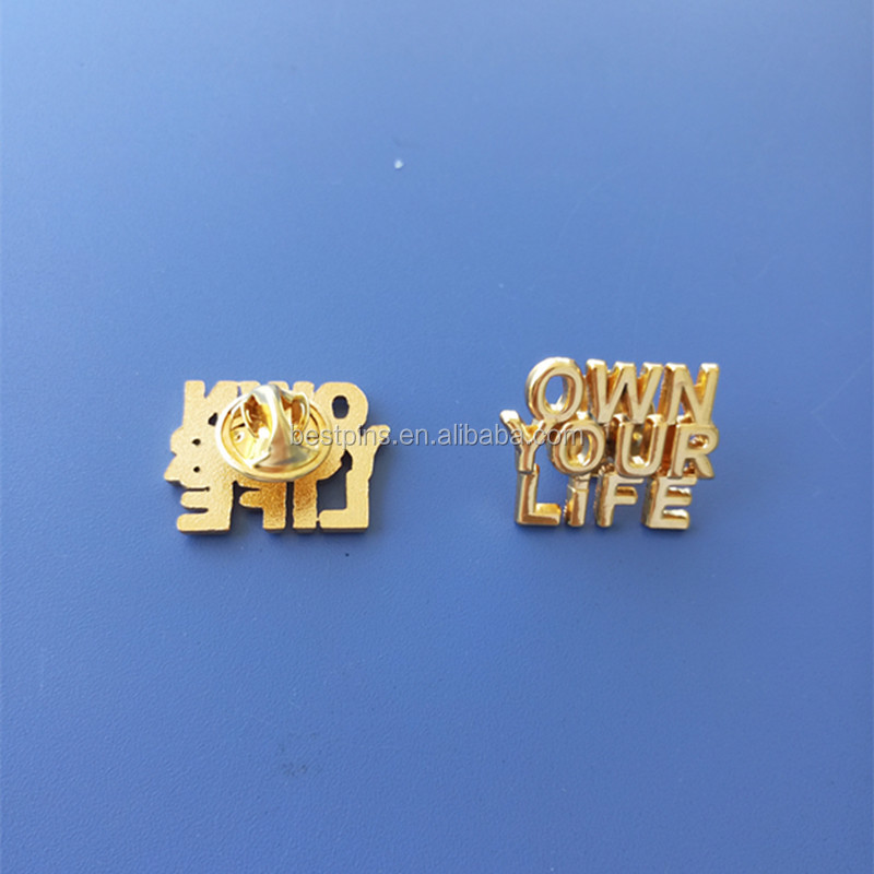 23mm Alphabet Metal Die Cut Letter Gold Plated Own Your life Badge for Promotion