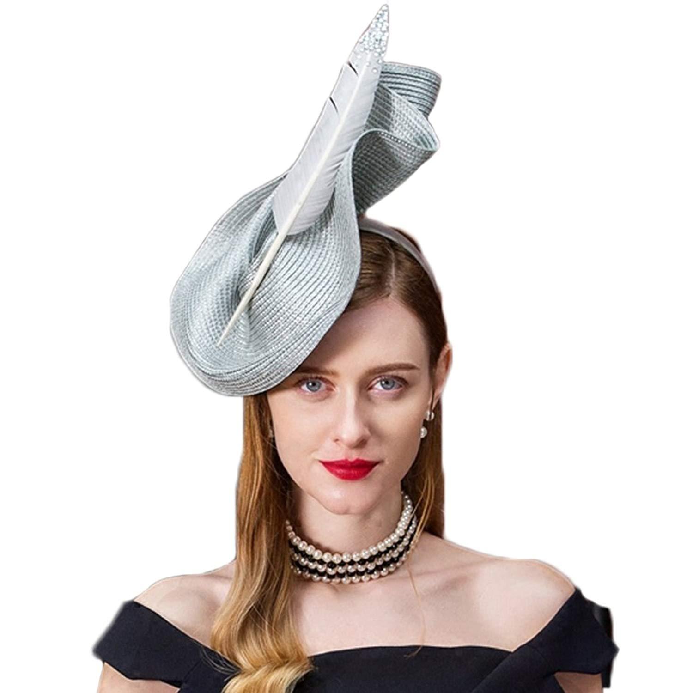 92dd913b13026 Get Quotations · Fascinators Wedding Pillbox Hat Women Vintage Feather Bridal  Hats