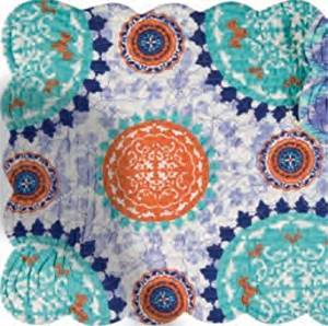 C&F Home Set of 4 Pcs, 13x19 Quilted Scallop Reversible Placemat, Zarina, Blue & Orange Medallion